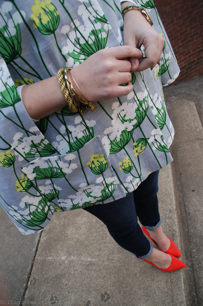 How cute are these little dog prints in the concrete??!   Cape: Handmade (Simplicity Vintage Pattern 8017), Fabric: HGTV Home | Jeans:  kate spade  | Shoes: ShoeDazzle | Watch: Fossil | Bracelets: Alex & Ani, Vintage | Earrings: Vintage | Sunglasses: Forever21