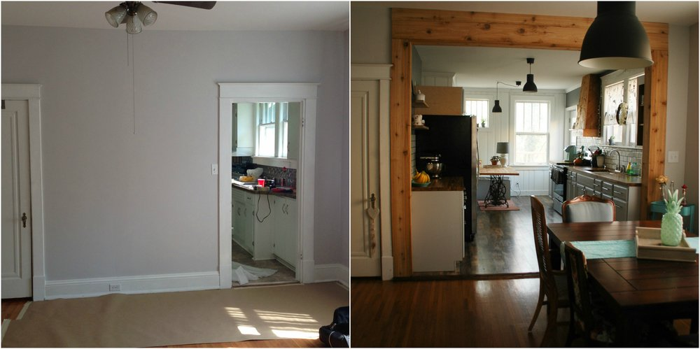 Can you believe that's the same space??! So much more airy and open!