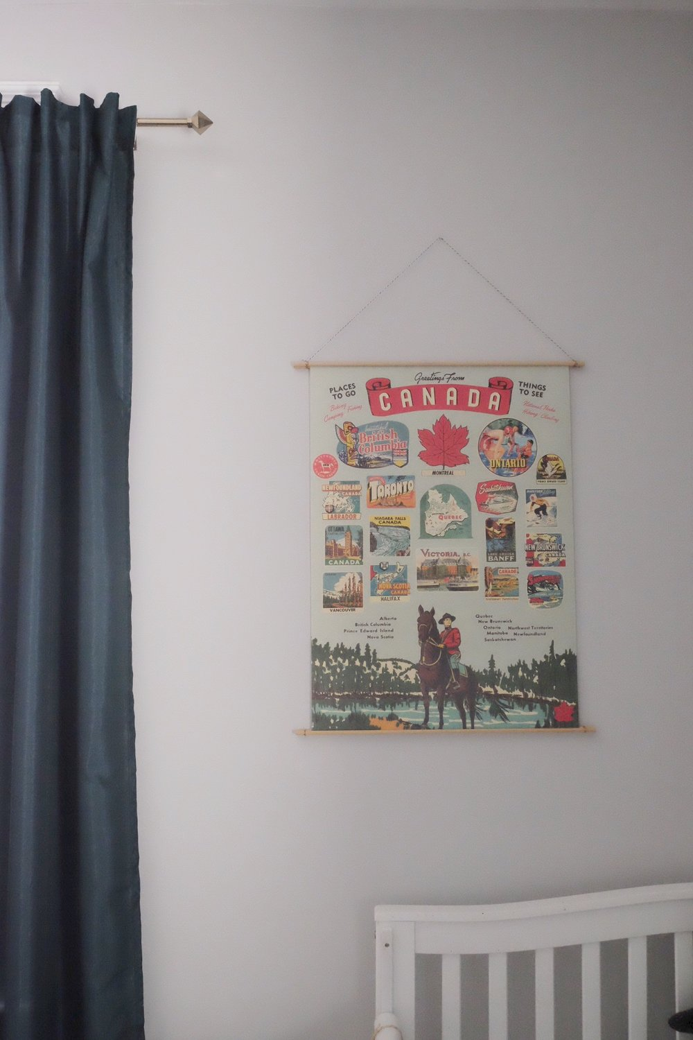 Poster: Cavallini & Co, via  Paper Source  | Curtains: IKEA | Poster Holder: DIY