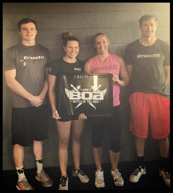 """CrossFit Eaton gets on the podium with a 3rd place finish at the """"Battle of the Ages"""" competition! So proud of my teammates!"""