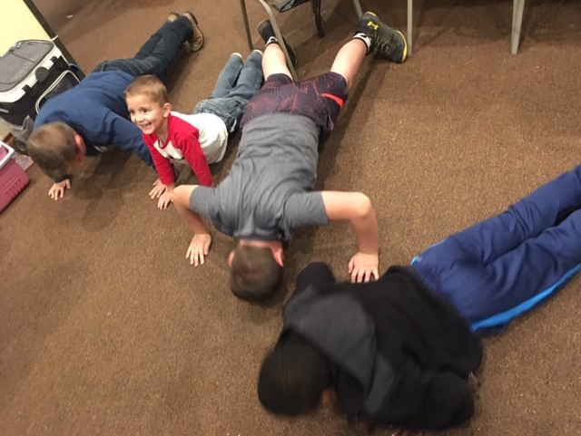 Push ups and Burpees- CrossFitters in the making!