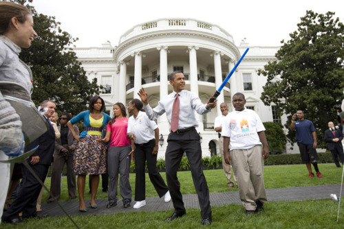 f0ook :      Never not reblog the president holding a lightsaber.