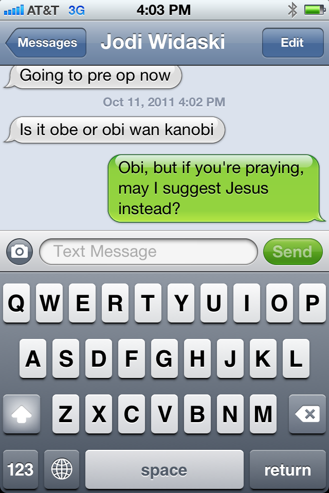 My sister… die-hard Star Wars fan, apparently. #starwars  #obiwan