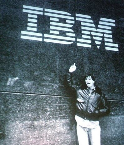 minimalmac :     I had never seen this shot of a young Steve Jobs, um, saluting IBM before. Love it.   (via  McCarron )     Hehe.