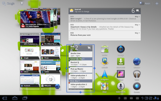 """This is what's wrong with Android, and by extension with Google. Does anyone look at this image and think, """"YES! That's what I want to see on my 10"""" tablet screen!"""" This looks like the most cluttered rehashed Windows 7 (with Widgets!!) experience you could ask for. Application shortcuts? Check. At-a-glance agenda? Check. YouTube Carousel? Check. Email preview pane? Check. ALL open tabs in my web browser? Check, check, check, check, check and check. Search button? Check.   Okay, I'm stopping there. But they didn't.   SOURCE:  Google Honeycomb 3.1 announced 