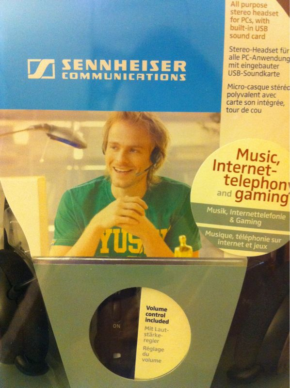 "Sennheiser, we need to talk. This Dana Carvey/""You're Gettin' a Dell"" Dude lovechild in this photo is… Well, did you WANT my unboxing vibe to be mostly shock and buyer's remorse? I'm just glad this was on the company dime."