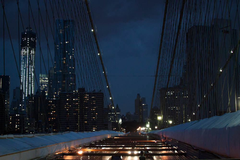 Brooklyn Bridge, NYC, street photography, twilight, cars, dusk, Freedom Tower