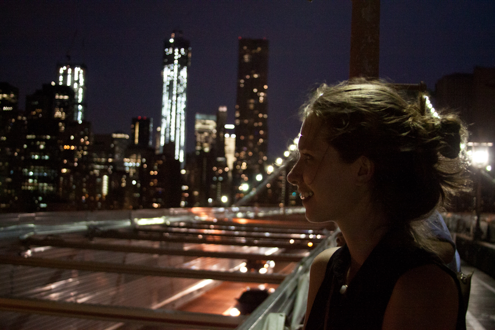 NYC, Brooklyn Bridge, portrait, street photography, Freedom Tower, skyline, night