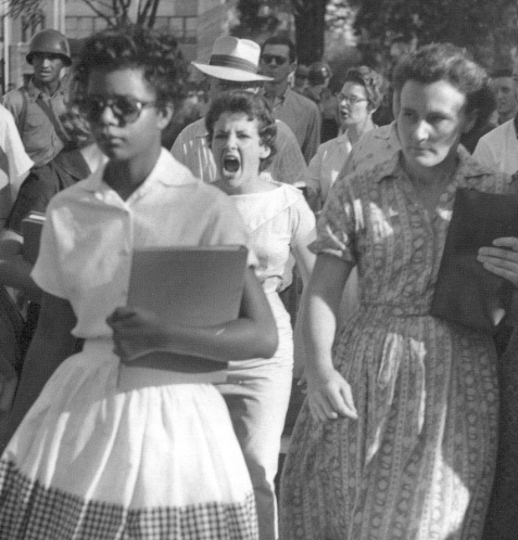Hazel Massery screams at Elizabeth Eckford, one of the first black students to be integrated in Little Rock Arkansas, 1957.