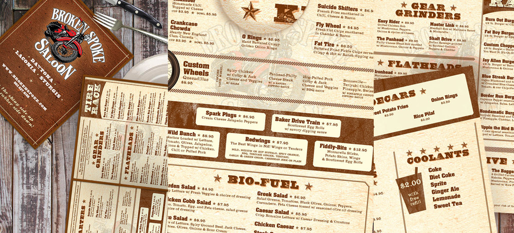 Broken Spoke Saloon menu redesign, 2013.