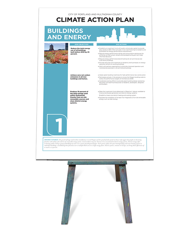 Large format prints used at a City of Portland council meeting.