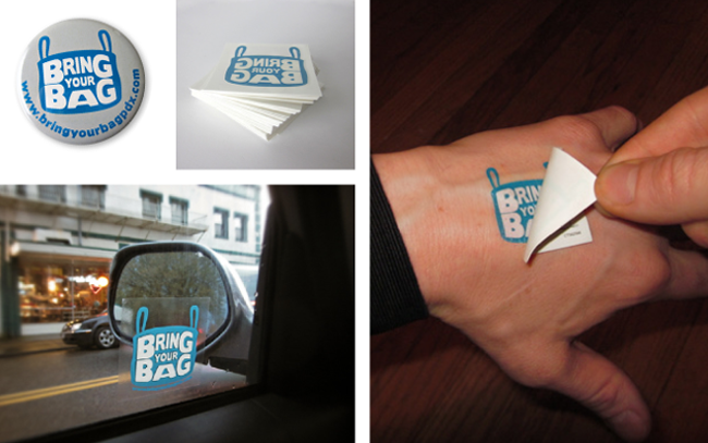 Pins, decals and temporary tattoos for the kids.