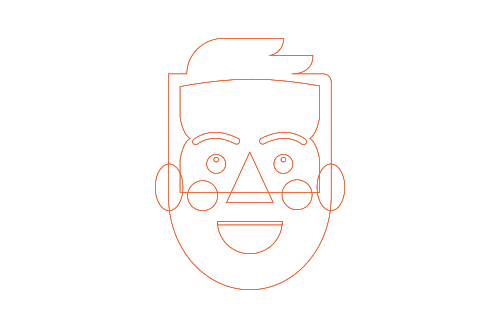 Wireframe of assembled shapes.