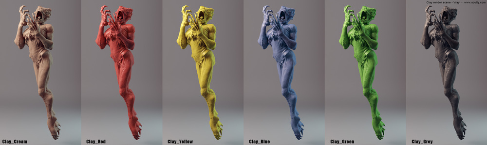 1- Clay render scene - Vray 3