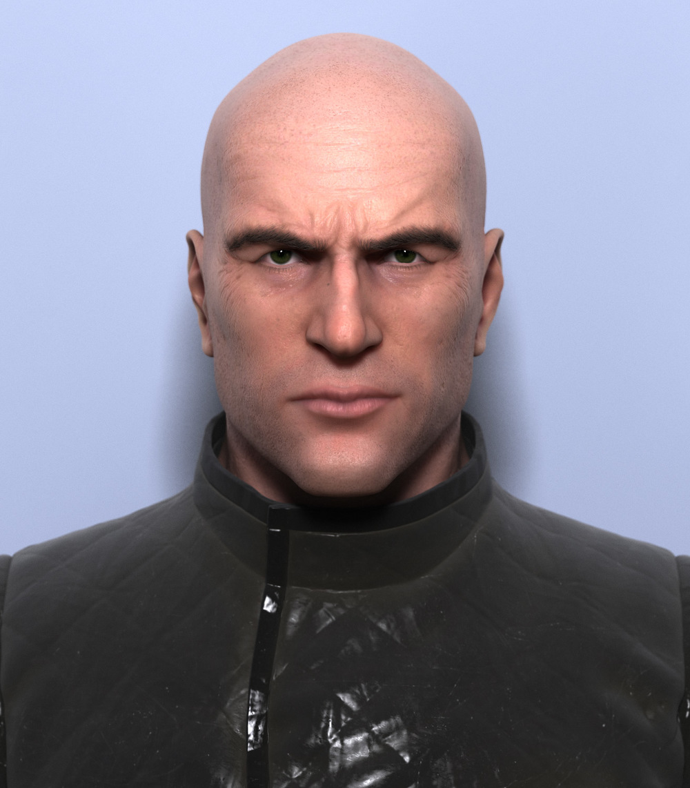 2- Realistic 3D male bust, Render scene & materials - Vray 3