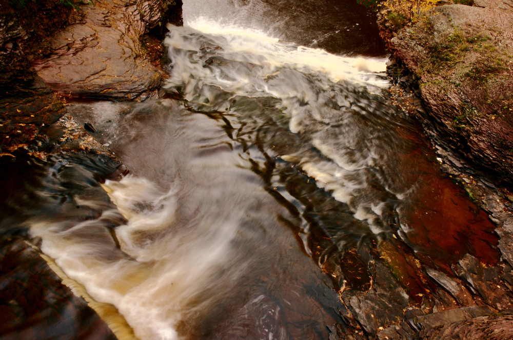 A top down, slow shutter photo of flowing water.