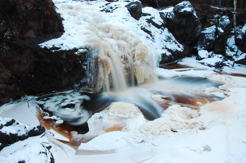 A long exposure of a partly frozen waterfall.