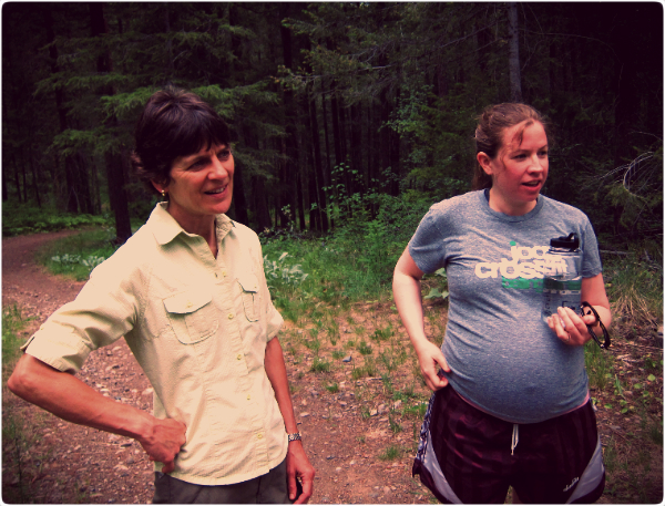 I'm approximately 35/36 weeks pregnant here going on an easy hike with our friends in Winthrop, WA.