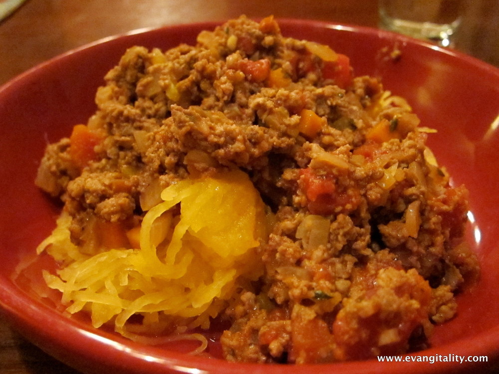 Meaty Spaghetti Sauce on Spaghetti Squash (with a picture demo on cutting your own mire poix)