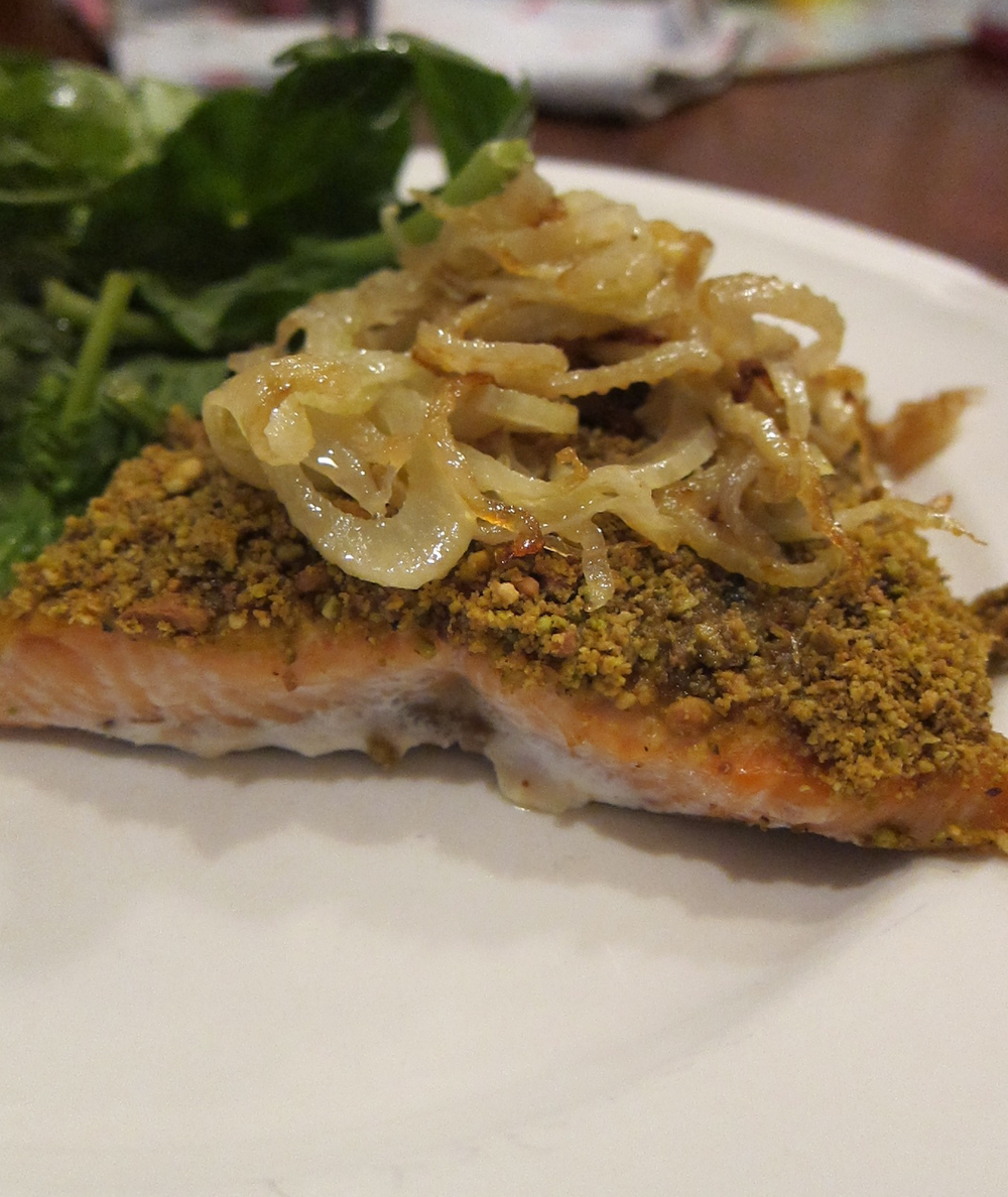 Pistachio Crusted Salmon with Sauteed Fennel