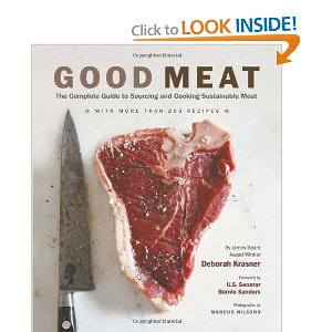 . Good Meat : If you're wondering about how an animal is broken down with a butcher cut sheet, or the various parts of the beef, lamb, pig, chicken...you should seriously look into this book.  The recipes are divided by the part of the animal.  For instance, beef recipes by rib, chuck, etc.  I love Deborah's take on eating meat, which is highly pastured & grass-fed influence.