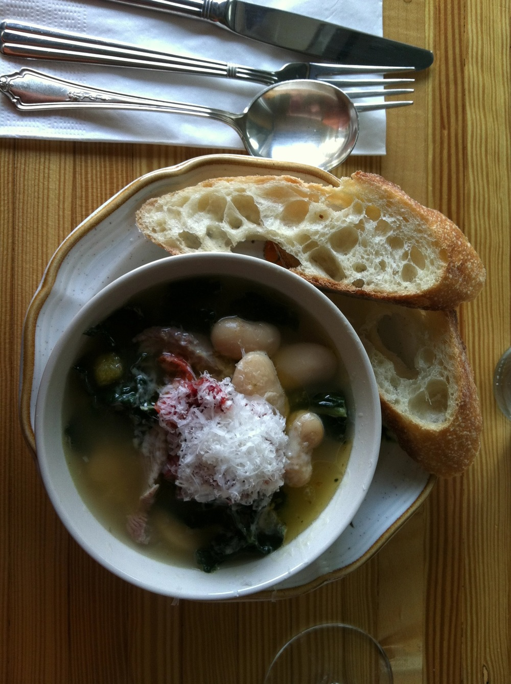 White Bean soup with Kale, Hungarian peppers and turkey breast with chicken broth