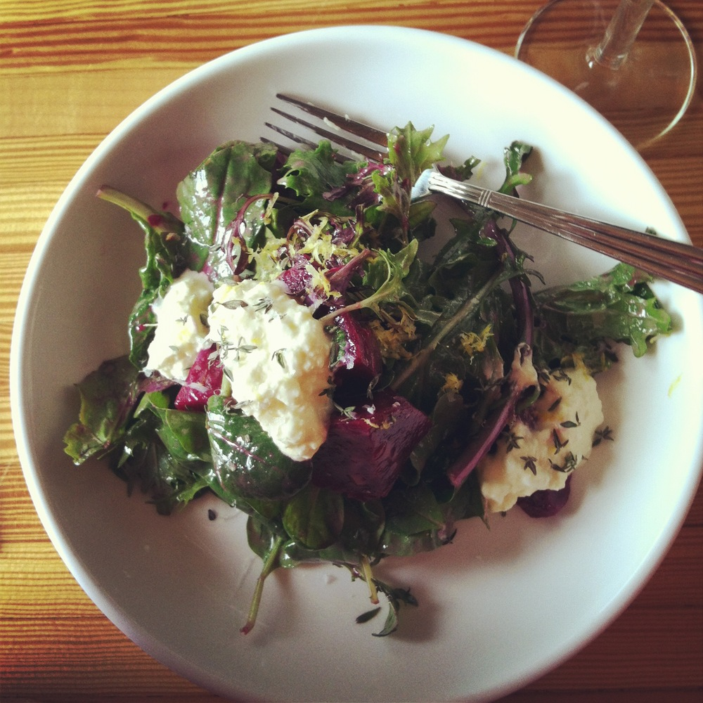 Smoked Beet Salad with Homemade Cottage Cheese