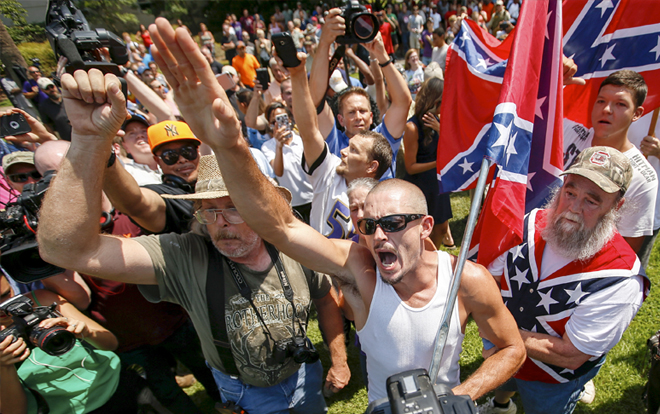 TRUMP SUPPORTERS WITH THE CONFEDERATE FLAG | GETTY