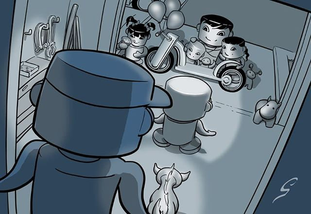 Where chibi meets sci fi.. WIP by #GreyWilliamson @greyrevealed from the 1st #OBABYBOT book by #OnjenaYo, Recyclin'  WWW.OBABYBOT.COM  #kidlit #comics #sequentialart #CarbonFibreMedia
