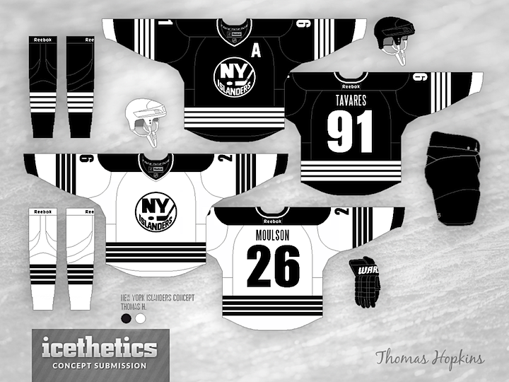 I Used To Think There Was No Way Design A Good Hockey Sweater Using Only Black And White Changed My Mind Today This New York Islanders Concept By