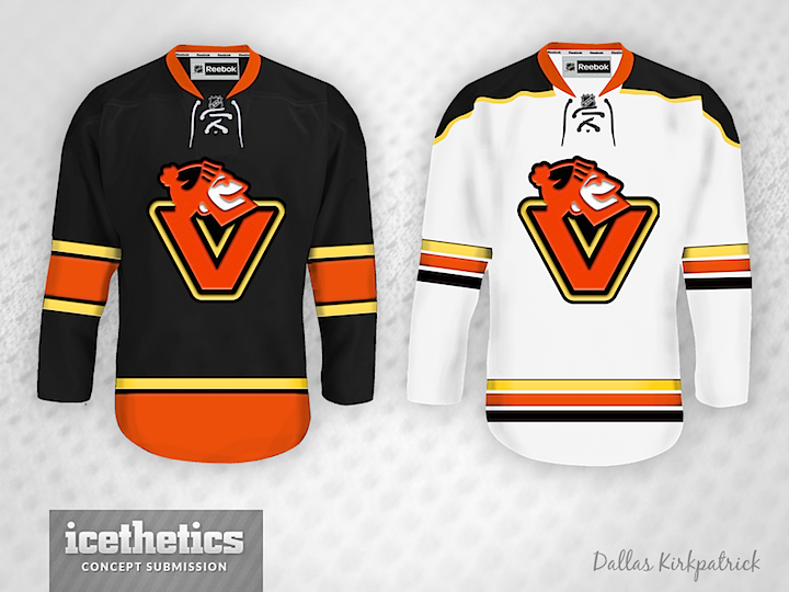 Todd Varga added the 1980s palette to the stick-in-rink logo. Again 32e546b32