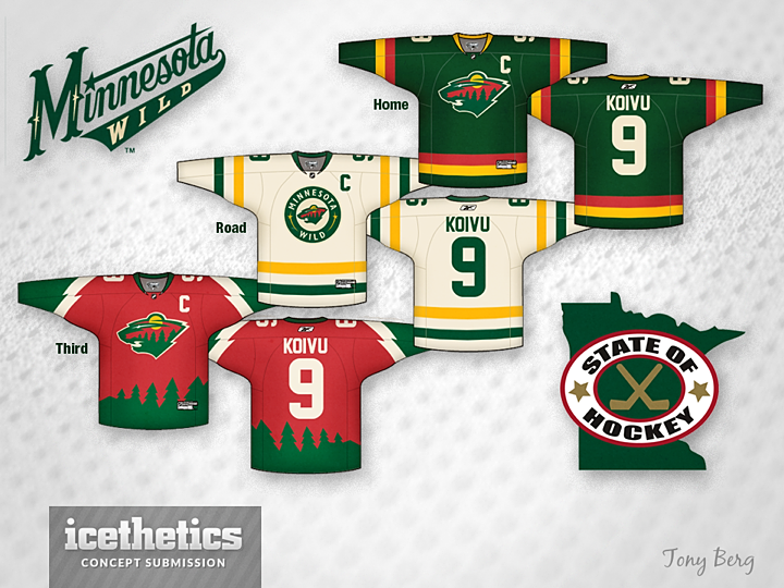 Those who don t like non-matching jersey sets probably won t care much for  Tony Berg s Minnesota Wild concept. But I think it s really sharp. 09074b879