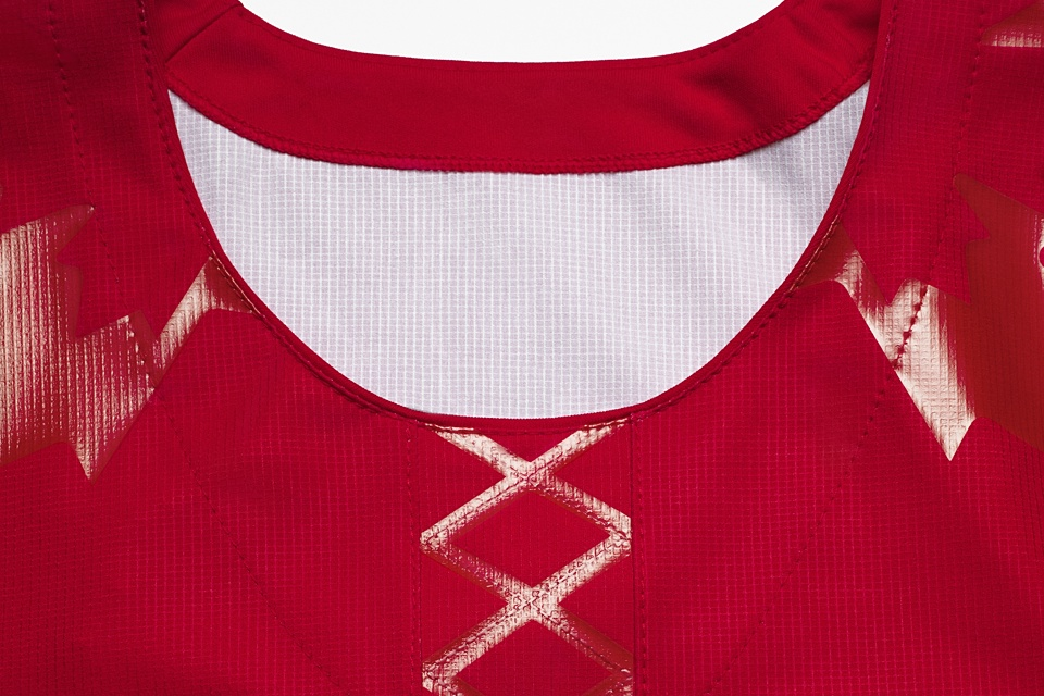 The collar design has been a sticking point among jersey geeks. What's with the fake laces?