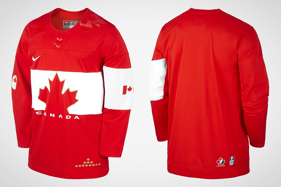 The retail version of the jersey has variations, including alternate placement of the 12 gold leaves and the use of the Hockey Canada and IIHF logos — which are banned by IOC regulations.