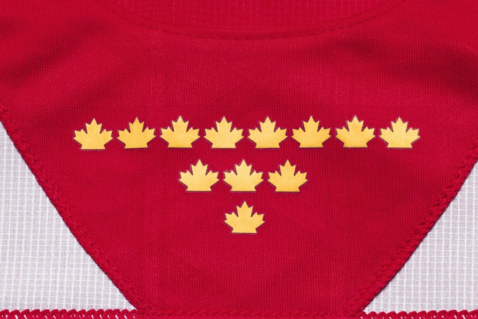 Inside the collar — just behind the fake laces — are a dozen gold maple leaves, representing the gold medals that have been won by the country's Olympic and Paralympic teams.