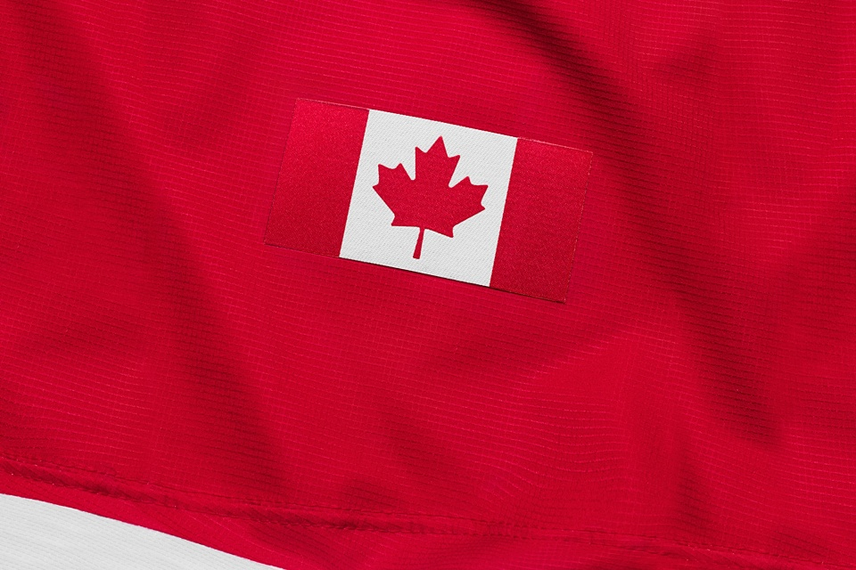 The national flag disappears a little into the red stripe on the left sleeve.