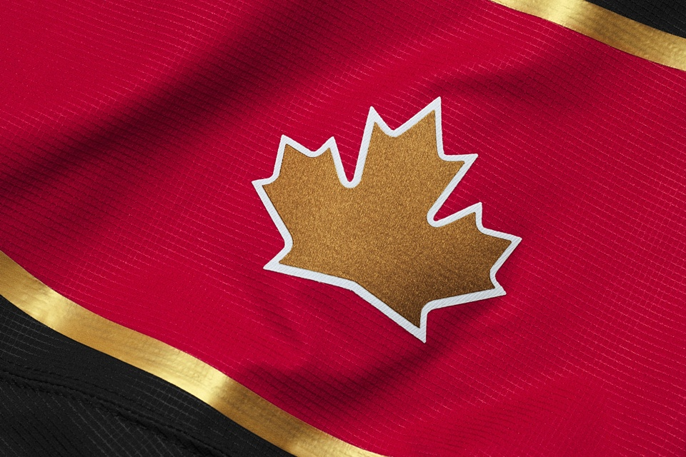 A gold maple leaf replaces the Canadian flag on the black jersey. Who needs subtlety, right?
