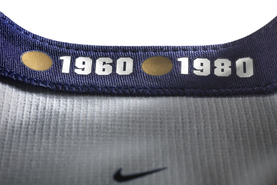 """And you thought the """"hanger effect"""" belonged only to Reebok. The U.S. marks its gold medal years on the inside of the collar."""