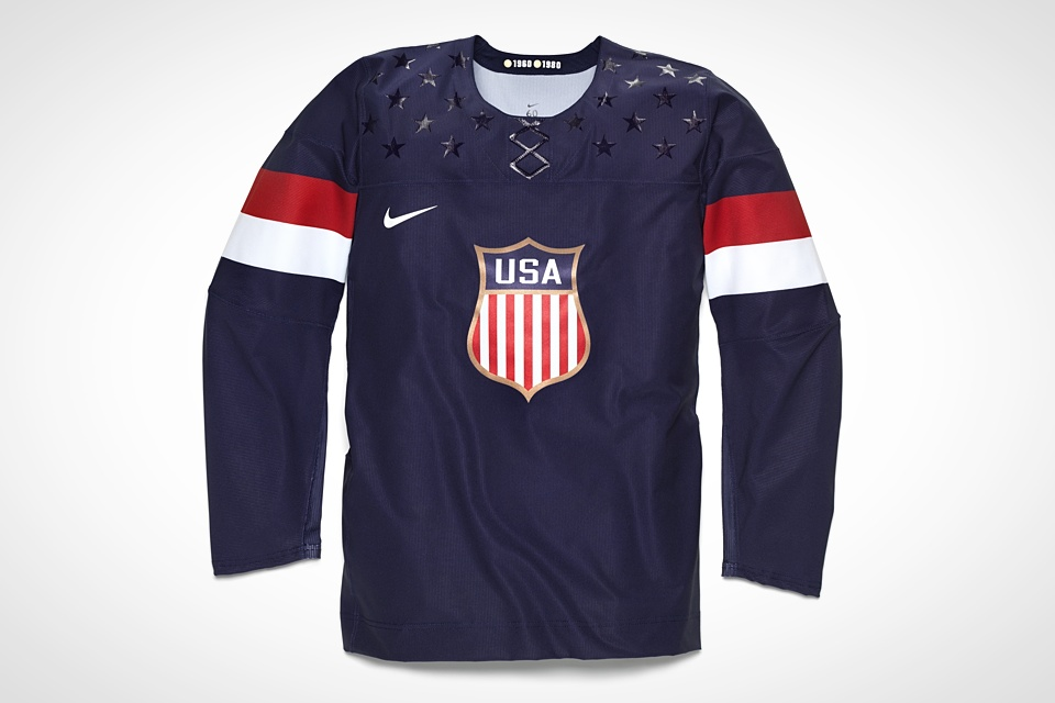 The blue U.S. jersey isn't as interesting as the white one, but at least the two aren't simply mirror images of each other.