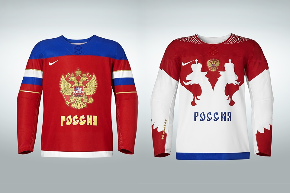 Russia's dark and light jerseys look so different and yet so similar.