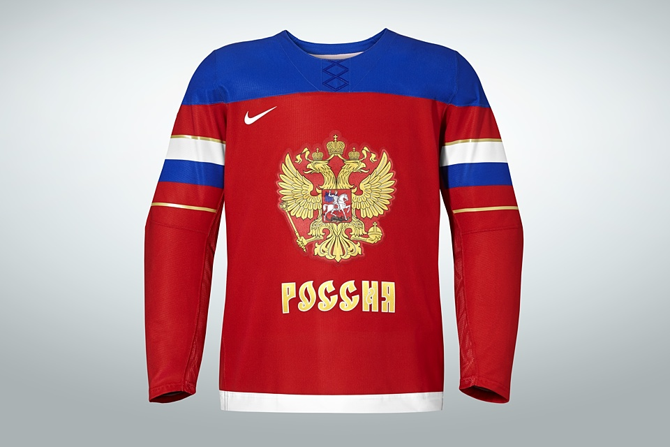 The red jersey features the Russian flag wrapped around the sleeves.