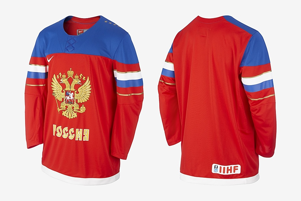 The retail version of the jersey includes the IIHF logo. Strange how the blue field doesn't wrap around the back though.