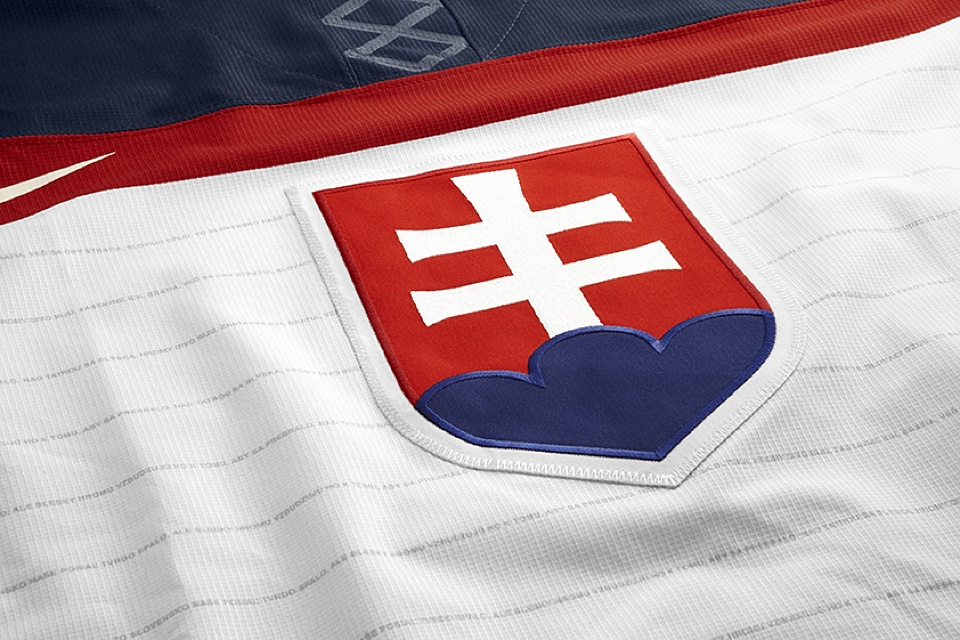 The shield from Slovakia's flag remains the centerpiece of the new uniforms.