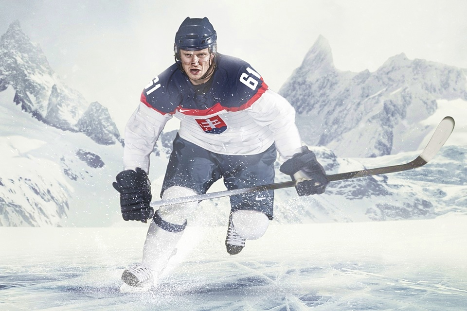 Milan Bartovic, of the Men's Slovakian National Ice Hockey Team, modeled the new sweater in promotional photos for Nike.