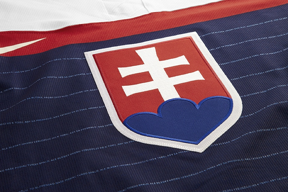 Unlike what we've seen on other countries' jerseys, Slovakia's crest is fully embroidered.