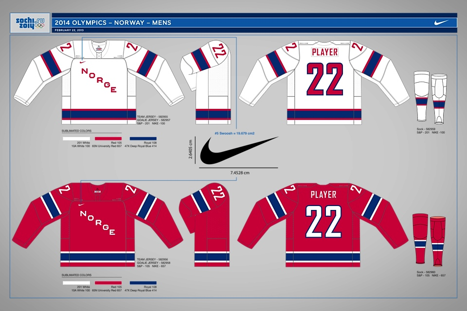 The Norwegian Ice Hockey Association released this digital rendering from Nike. Classic, traditional sweaters for Norway.