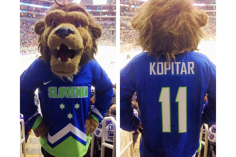 L.A. Kings mascot Bailey  tweeted this photo  of a Slovenian Kopitar jersey on Feb. 6