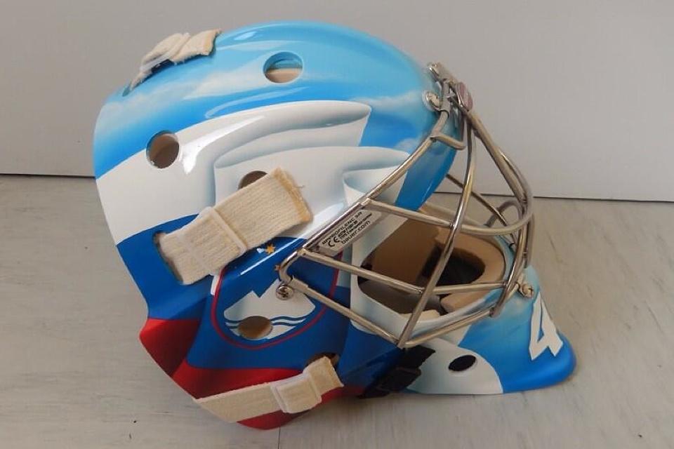 Luka Gracnar's goalie mask  more like the flag than the jersey.