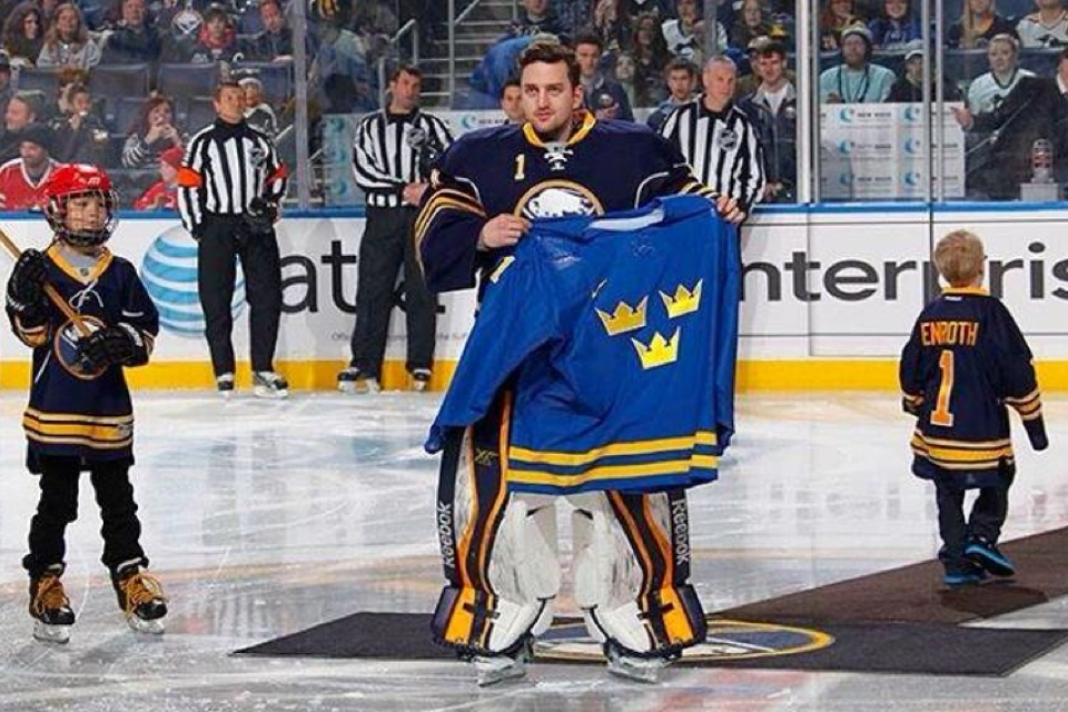 Update: A  better shot of the blue jersey  came by way of the Sabres' Jhonas Enroth on Feb. 5.