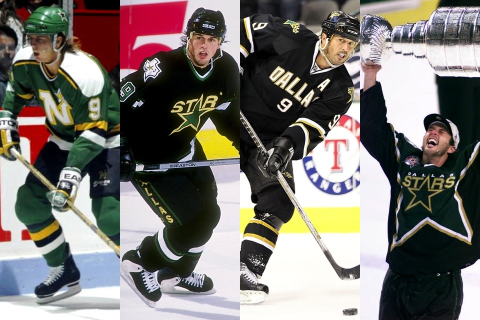 Tracked down shots of Modano actually wearing all four jersey featured in the pre-game.